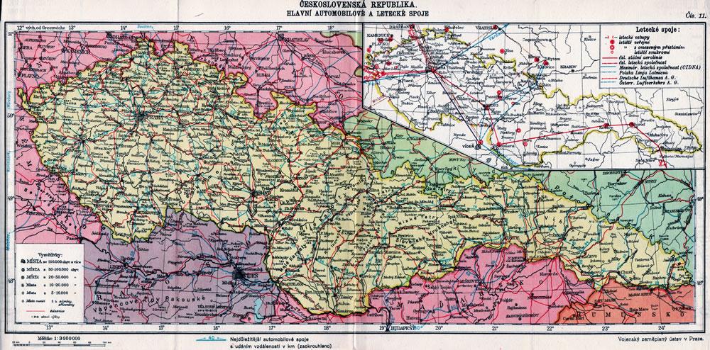 mapa-ceskoslovensko-hlavni-automobilove-a-letecke-spoje